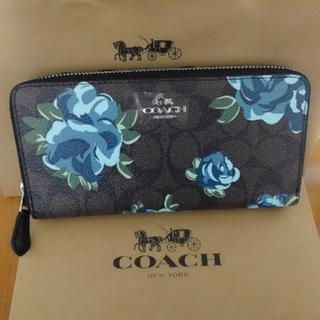 COACH - coach長財布 薔薇フローラル青