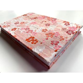 金襴織物御朱印帳 桜 #1 <色柄>桜舞 ピンク ファブリック ハンドメイド(その他)