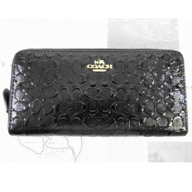 COACH(コーチ)のcoach長財布 エナメルブラック レディースのファッション小物(財布)の商品写真