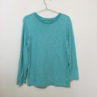 ギャップキッズ(GAP Kids)のGAP★ギャップ★エメラルドグリーンのボーダーロンT XL(150) 綿100%(Tシャツ/カットソー)