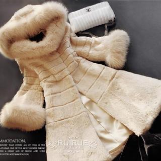 グレースコンチネンタル(GRACE CONTINENTAL)の美品ルイルエブティック ラビット フォックス ファーコート アイボリー ベージュ(毛皮/ファーコート)