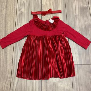 エイチアンドエム(H&M)のH&M 赤ワンピース 60 ヘアバンド付き クリスマス お食い初め ベロア(ワンピース)