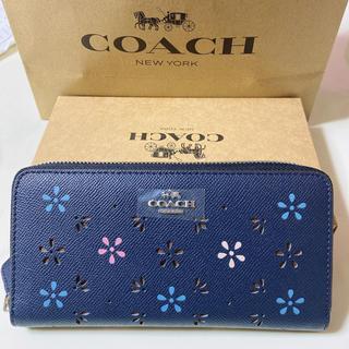 COACH - coach長財布 フラワーネイビー