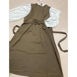 韓国ファッション ♡ バックリボン キャメルブラウン ドッキング ワンピース