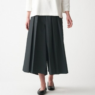 MUJI (無印良品) - ◆新品◆ 無印良品 ストレッチ高密度織りはかまパンツ/L/黒