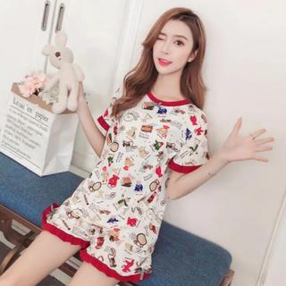 新品 パジャマ 上下セット ルームウエア 半袖 サマー 韓国ファッション 可愛い(ルームウェア)