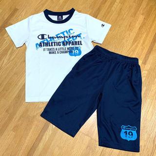 チャンピオン(Champion)のチャンピオン 140 白×ネイビーブルー 半袖 ハーフパンツ ジャージ 上下(Tシャツ/カットソー)