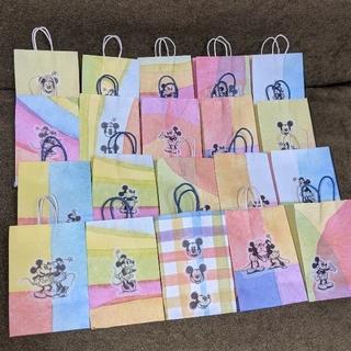 ハンドメイド★ミニ紙袋★ミッキーWHITE★20枚セット(カード/レター/ラッピング)