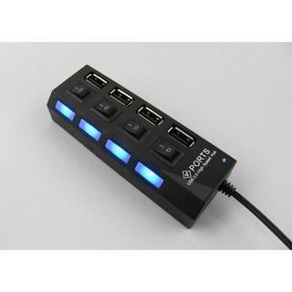 新品 USB2.0 4ポート 黒 大量 ハブ スイッチ コード50㎝ アンペア