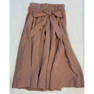 ミスティウーマン(mysty woman)のウエストリボン フレアスカート(ひざ丈スカート)