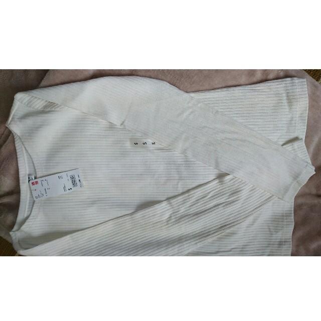UNIQLO(ユニクロ)のユニクロ リブボートネックTシャツ  新品・未使用  S レディースのトップス(カットソー(長袖/七分))の商品写真