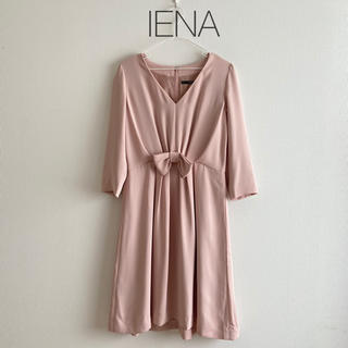 IENA - 美品☆イエナ 七分袖リボンワンピース ピンク 通勤仕事ドレスS M上品かわいい