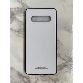 ギャラクシー(Galaxy)のシンプル&男女兼用♪耐衝撃背面9Hガラスケース GalaxyS10 ホワイト 白(Androidケース)