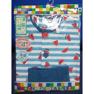 腹巻き付き パジャマ 半袖 7分丈 涼感素材 綿100% 80サイズ スイカ(パジャマ)