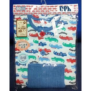 腹巻き付き パジャマ 半袖 7分丈 涼感素材 綿100% 80サイズ ワニ(パジャマ)