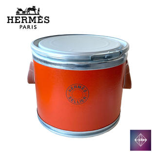 エルメス(Hermes)のエルメス ボックス ドラム缶 馬具入れ シルバー金具 オレンジ インテリア(その他)