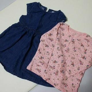 ネクスト(NEXT)のNEXT 80 デニムワンピース 花柄長袖シャツ(ワンピース)