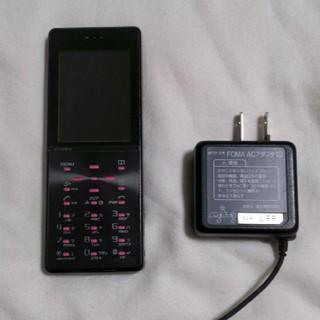 エヌティティドコモ(NTTdocomo)のガラケー D705iμ ルミナスブラック FOMA充電器セット DOCOMO端末(携帯電話本体)