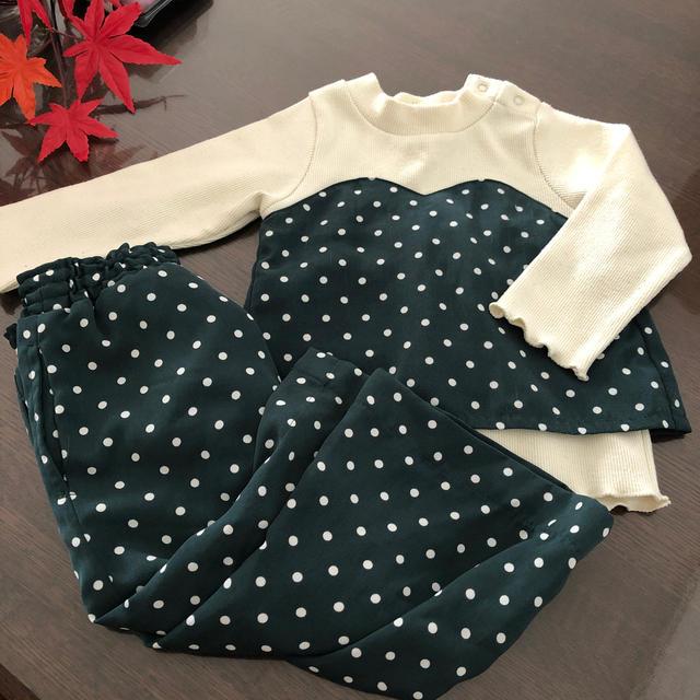 petit main(プティマイン)のセットアップ グリーンドット 90 プティマイン  キッズ/ベビー/マタニティのキッズ服女の子用(90cm~)(Tシャツ/カットソー)の商品写真