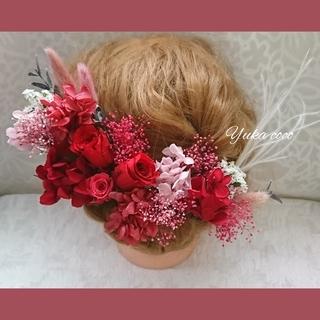 真っ赤なバラのドライフラワー ヘッドドレス 髪飾り❁︎成人式 結婚式 前撮り (ヘッドドレス/ドレス)
