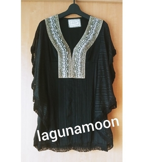 ラグナムーン(LagunaMoon)のlagunamoon★ビジュー素敵なブラックトップス ラグナムーン(チュニック)