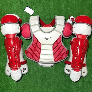 ミズノ(MIZUNO)の★新品未使用★ 一般ソフトボール用 キャッチャー プロテクター レガース 赤白(防具)
