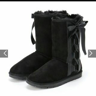 リズリサ(LIZ LISA)のプリムヴェールリズリサムートン調ブーツM新品未使用23.5センチ黒(ブーツ)