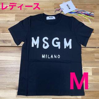 エムエスジイエム(MSGM)の新品 MSGM レディース ロゴTシャツ ブラック 半袖 黒M エムエスジイエム(Tシャツ(半袖/袖なし))