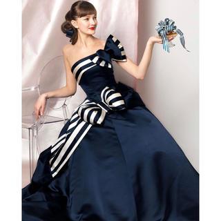 エリマツイ(ERI MATSUI)のエマリーエ ネイビー ホワイト ストライプ カラードレス リボン(ウェディングドレス)