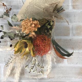 ピンクッションとリューカデンドロン パンパスグラスの秋冬 スワッグ ドライフラワ(ドライフラワー)