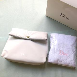 クリスチャンディオール(Christian Dior)のChristianDior フェイスタオルとポーチのセット(タオル/バス用品)