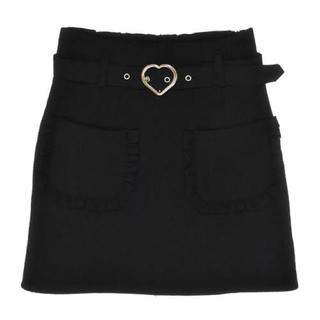 ハニーシナモン(Honey Cinnamon)のハニーシナモン ハートバックル 台形スカート ブラック(ミニスカート)