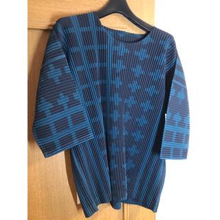 イッセイミヤケ(ISSEY MIYAKE)のHOMME PLISSE ISSEY MIYAKE格子プリントプリーツカットソー(Tシャツ/カットソー(七分/長袖))