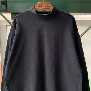 アートヴィンテージ(ART VINTAGE)の90s ハイネックカットソー スウェット 黒 ブラック コットン デザインT(Tシャツ/カットソー(七分/長袖))