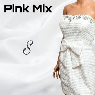 ピンクミックス(Pink Mix)のデコルテビジュー ウエストリボン ツイード ミニワンピ(ミニワンピース)