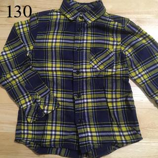 130 黄色チェックシャツ