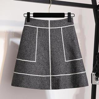 フレイアイディー(FRAY I.D)の【残り1点】ラインデザインニット素材スカート(ブラック)(ミニスカート)