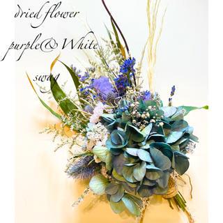 ドライフラワー ⋆*❁*秋色紫陽花 purple&White blue スワッグ(ドライフラワー)