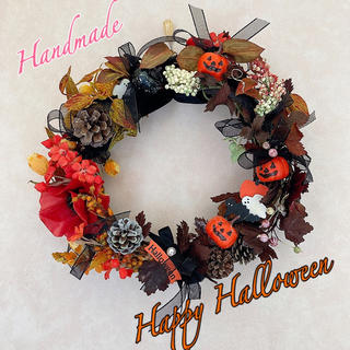 ★10月5日までお値下げ中★リボンとかぼちゃのハロウィンリース(リース)