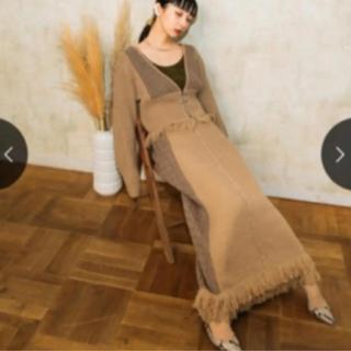 Ameri VINTAGE - MARTE Fringe Knit Cardigan & skirt set
