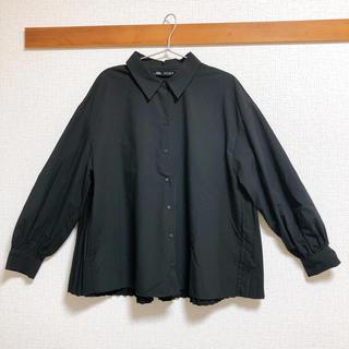 ZARA - 【ZARA】トップス プリーツ シャツ ブラック