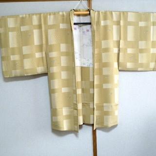 トールサイズ 長羽織 裄69cm ちりめん 市松亀甲露芝柄  余り布付き(着物)