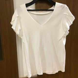 シップス(SHIPS)の人気商品♪シップス☆ひらひら袖カットソー ホワイト(カットソー(半袖/袖なし))