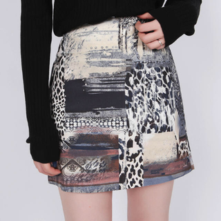 STYLENANDA - 【予約商品】ユニークパターン Aラインスカート 韓国ファッション 秋服