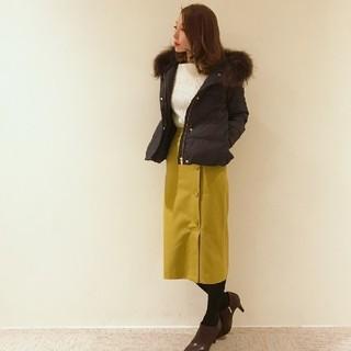 テチチ(Techichi)の秋色 くるみ釦タイトスカート イエロー S 36 7号 巻きスカート風(ロングスカート)