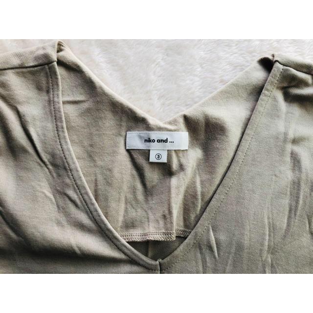 niko and...(ニコアンド)のnico and... ニコアンド ビック Tシャツ カットソー V字 ベージュ レディースのトップス(Tシャツ(半袖/袖なし))の商品写真