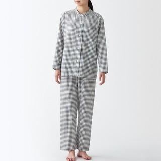 MUJI (無印良品) - 脇に縫い目のない 二重ガーゼ スタンドカラーパジャマ