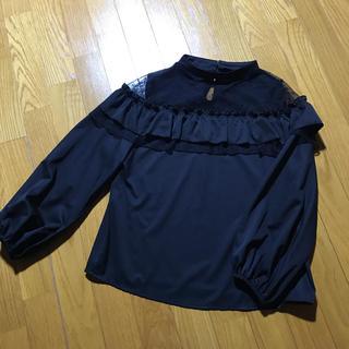 ◆新品◆黒+お花シースルーブラウス◆シャツ◆長袖(シャツ/ブラウス(長袖/七分))