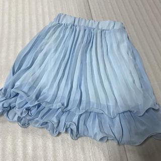 ◆新品◆水色シフォンプリーツスカート◆(ミニスカート)