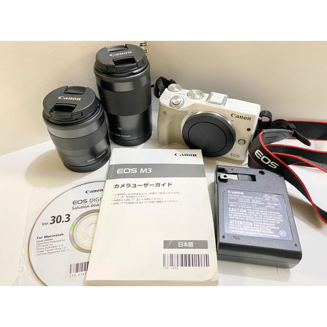 Canon(キヤノン)の本日のみ値下げCanon EOSM3ダブルズームキット ミラーレス一眼 キャノン スマホ/家電/カメラのカメラ(ミラーレス一眼)の商品写真